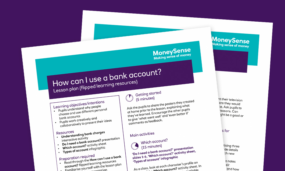 Lesson plan for How can I use a bank account?