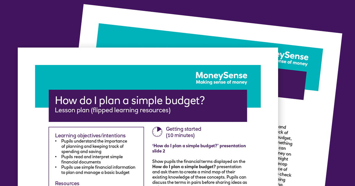 lesson plan how can i plan a simple budget teachers moneysense