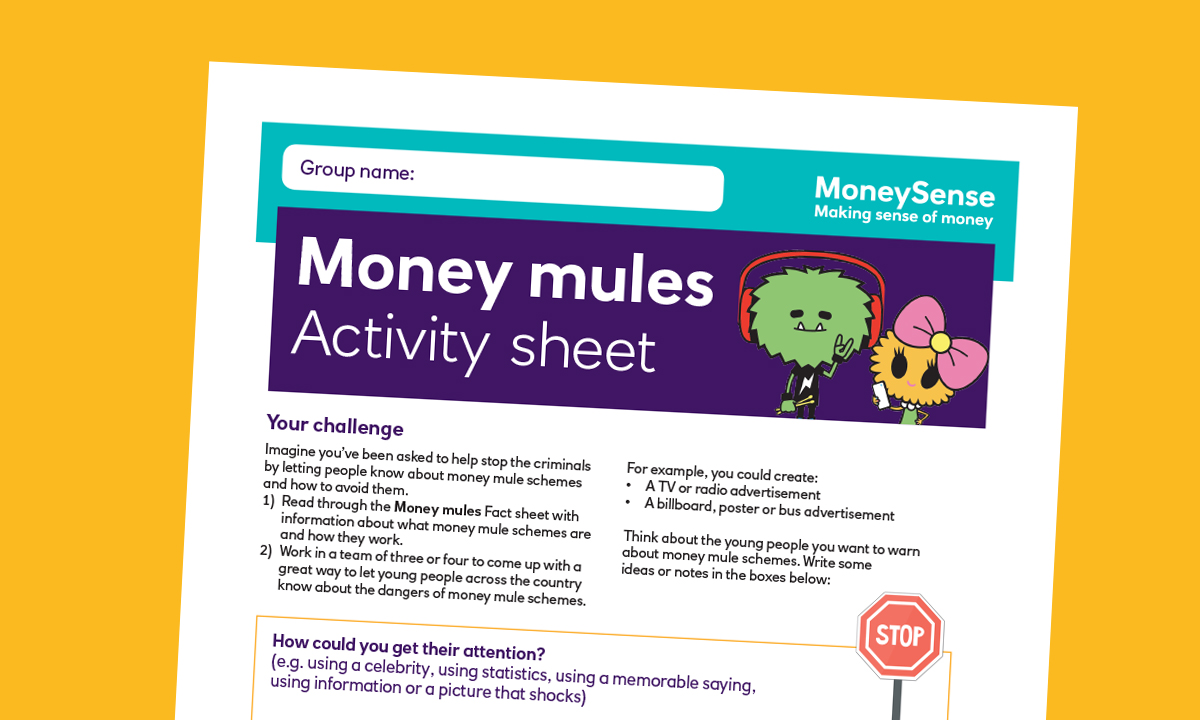 Activity sheet for Money mules