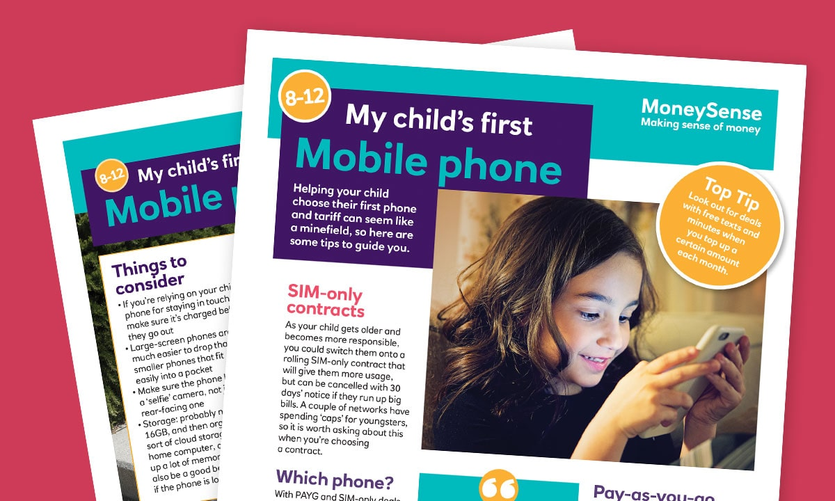 Money activities: My child's first...Mobile phone