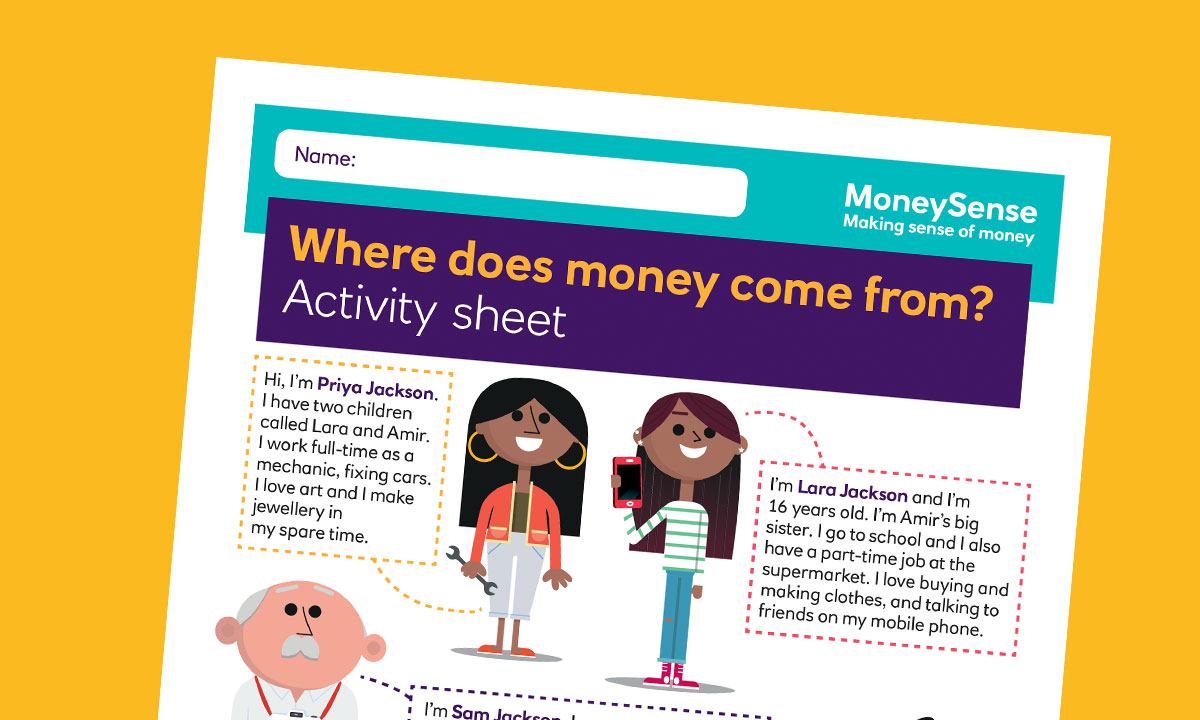 Activity sheet for Where does money come from?
