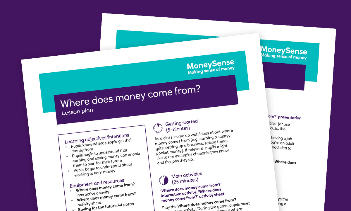Lesson plan for Where does money come from?