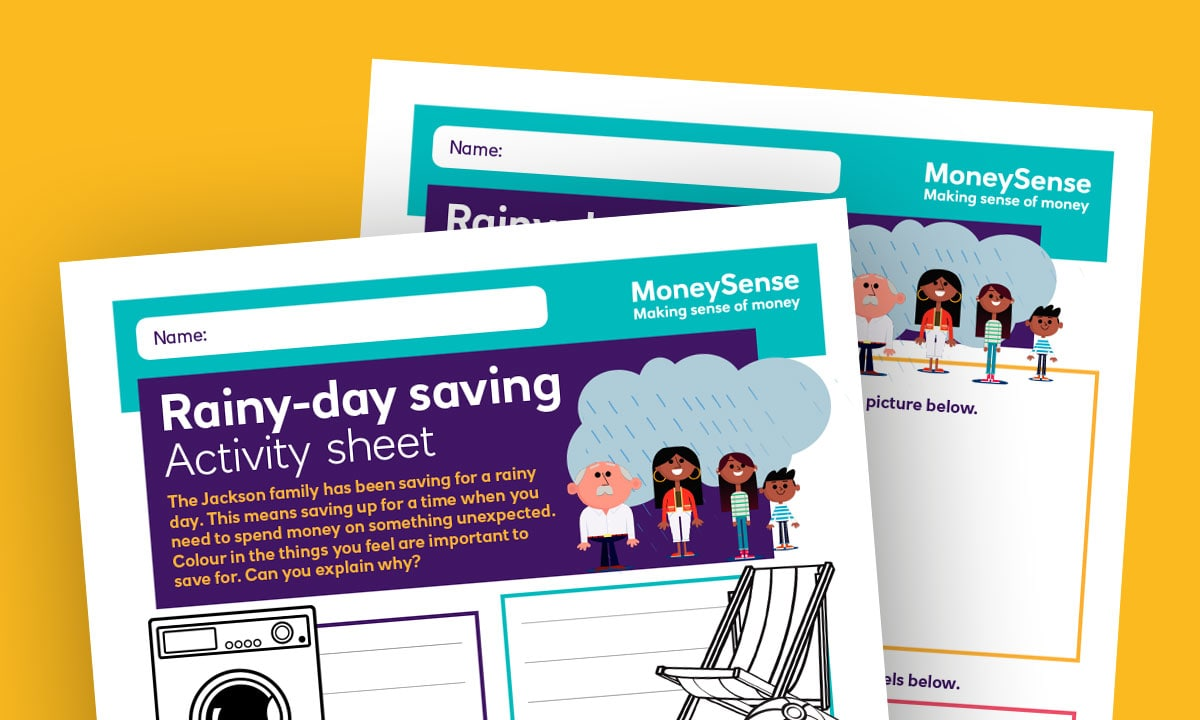 Activity sheet for Why is it important to save money?