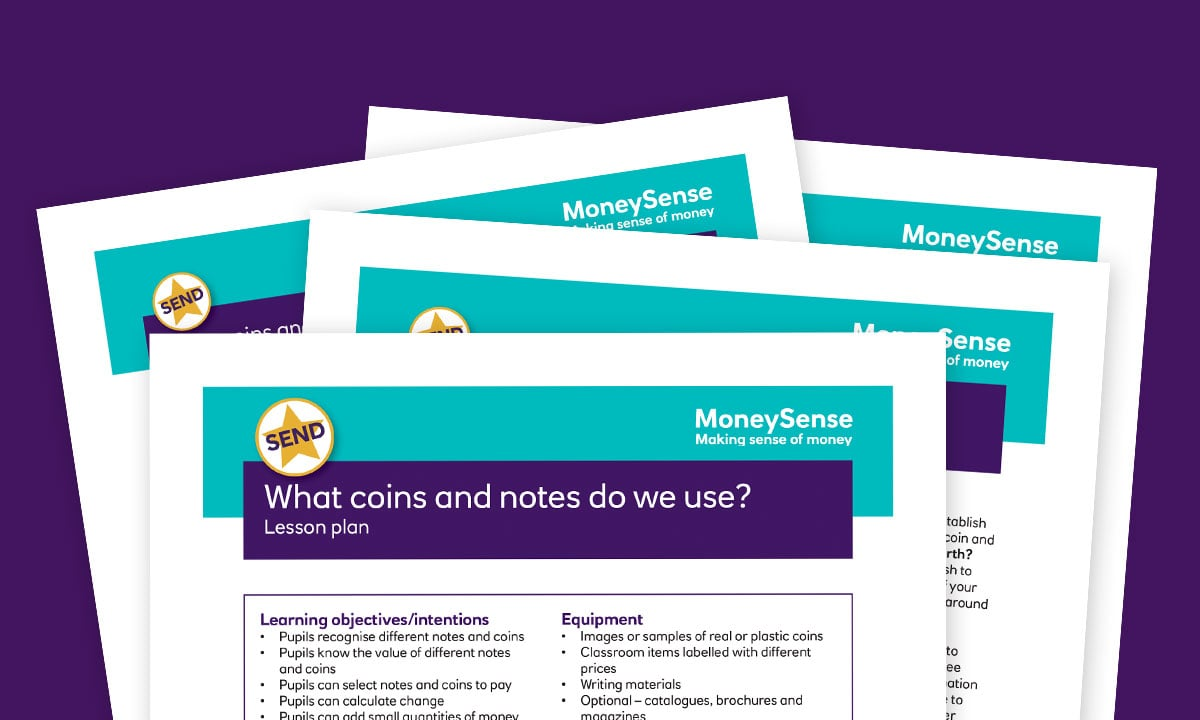 SEND lesson plan for What coins and notes do we use?
