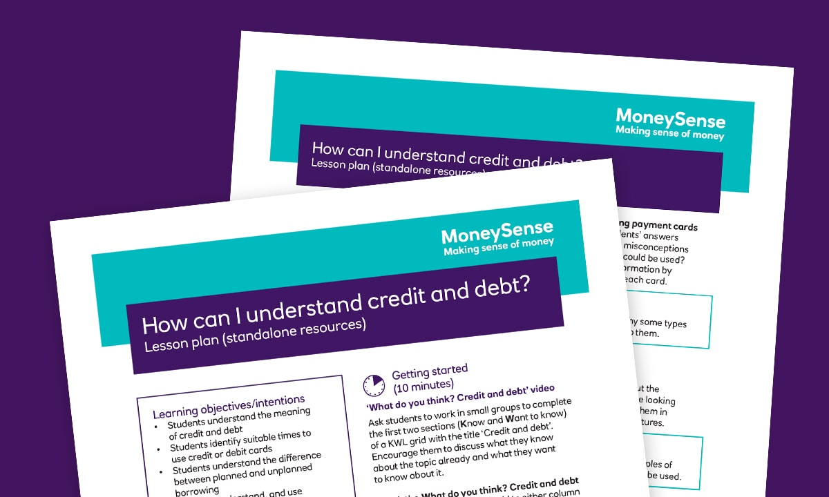 Lesson plan for How can I understand credit and debt?