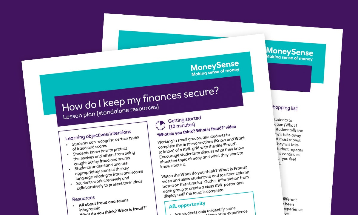 Lesson plan for How do I keep my finances secure?