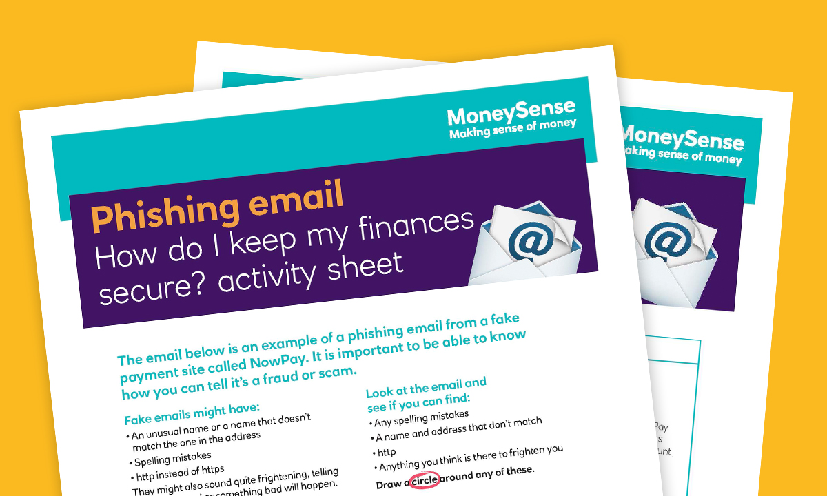 SEND Activity sheet for How do I keep my finances secure?