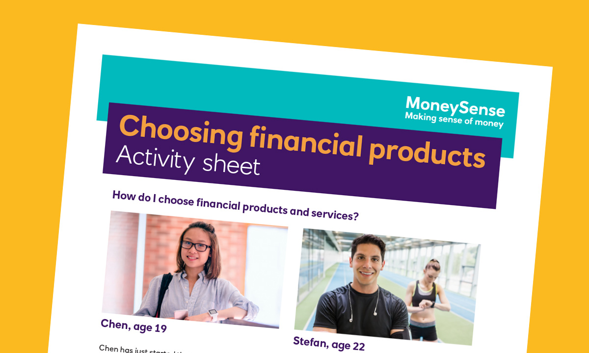 Activity sheet for How do I choose financial products and services?