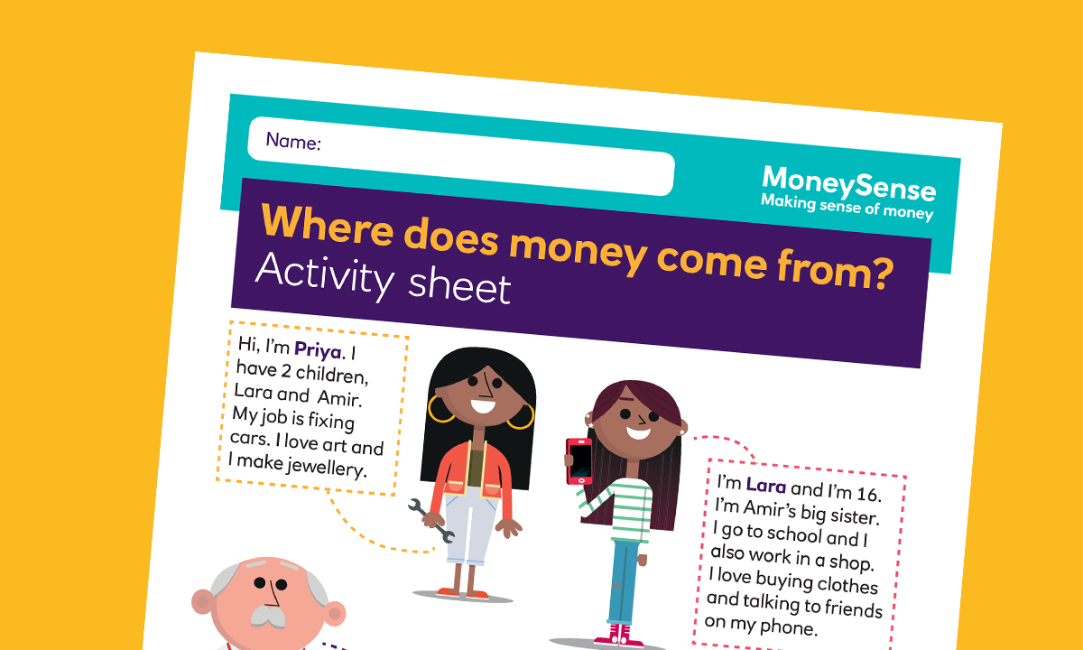 SEND activity sheet for Where does money come from?