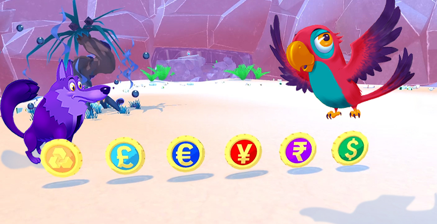Bankimals from Island Saver with the different currencies in the Exchange Machine