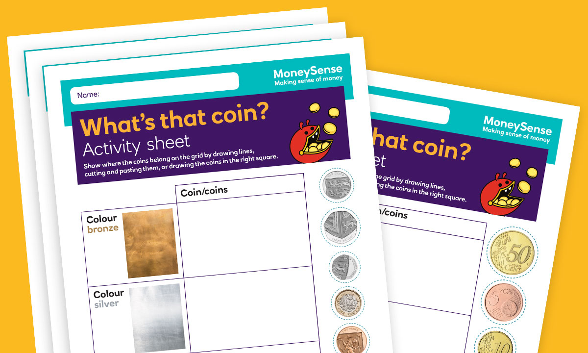 SEND activity sheet for What coins and notes do we use?